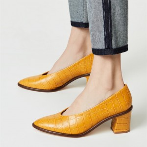 Yellow Bamboo Grain Almond Toe Chunky Heels Pumps for Women