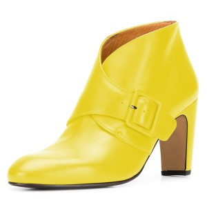 Yellow Buckle Chunky Heel Ankle Booties