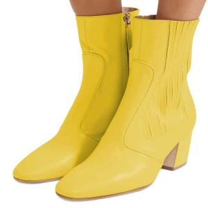 Yellow Chunky Heel Boots Ankle Boots