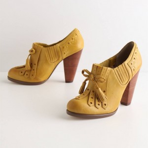 Yellow Chunky Heel Oxford Pumps Tassels Oxford Heels Vintage Shoes