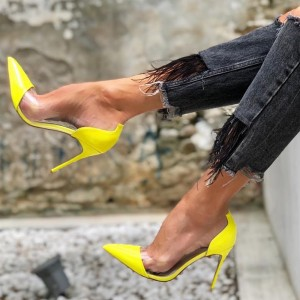 Yellow Clear Heels Stiletto Heel Pumps