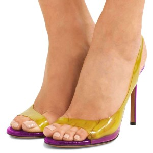 Yellow Clear PVC and Purple Slingback Heels Sandals