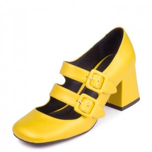 Yellow Double Buckles Square Toe Block Heel Mary Jane Shoes