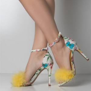 Yellow Fur Heels Floral Open Toe Stiletto Heel Ankle Strap Sandals