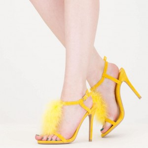 Yellow Trendy Fur Heels T-strap Open Toe Stiletto Heel Sandals