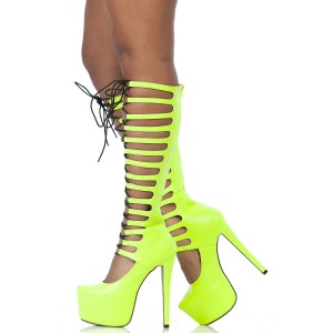Neon Yellow Knee High Gladiator Heels Lace up Platform Long boots