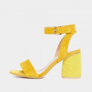 Yellow Glitter Slingback Sandals Block Heels Ankle Strap Sandals