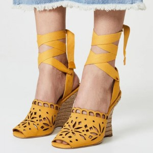 Yellow Hollow Out Wedge Heels Ankle Strappy Sandals