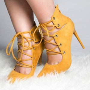 Yellow Lace up Heels Pointy Toe Suede Pumps Stiletto Heels