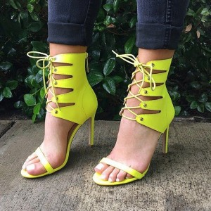 Neon Lace up Sandals Open Toe Stiletto Heel Sandals US Size 3-15