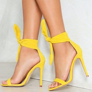 Yellow Suede Stiletto Heels Tie up Open Toe High Heels Sandals