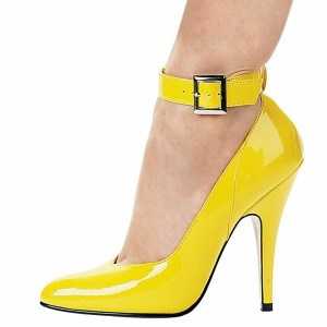 Yellow Patent Leather Ankle Strap Heels Buckle Stiletto Heel Pumps