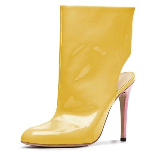 Yellow Patent Leather Cut Out Stiletto Heel Ankle Booties
