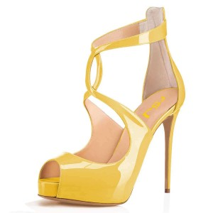 Yellow Patent Leather Platform Peep Toe Cross Over Stiletto Heels Pump