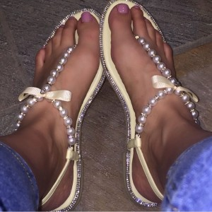 Yellow Pearl Rhinestone Flats Open Toe Bow Beach Shoes
