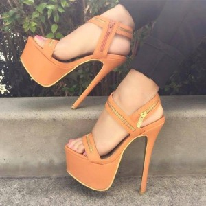 Yellow Platform Sandals Open Toe Stilettos High Heel Shoes