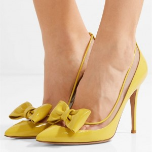 Yellow Pointy Toe Bow Heels Pumps