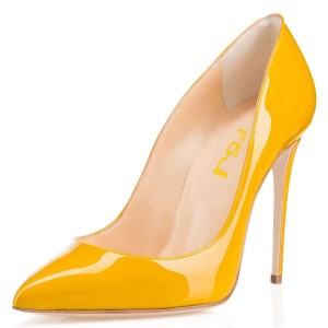 On Sale Yellow Pointy Toe Office Heels Stiletto Heel Pumps