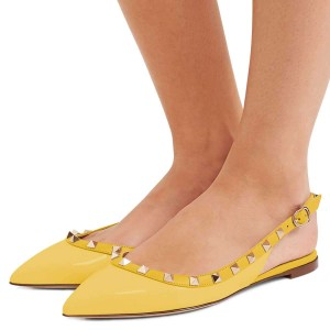 Yellow Pointy Toe Rockstud Slingback Shoes Comfortable Flats