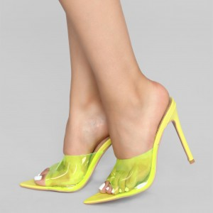 Yellow PVC Mule Heels Stiletto Heel Sandals