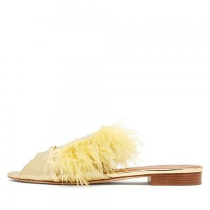 Yellow Python Feather Women's Slide Sandals