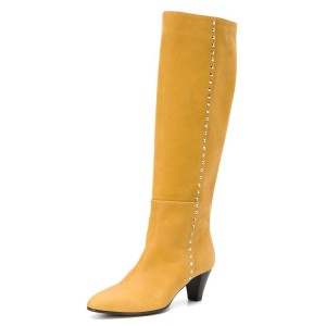 Yellow Chunky Heel Long Boots Knee High Boots