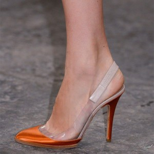 Orange Satin Clear PVC Stiletto Heel Slingback Pumps