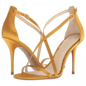 Yellow Satin Cross Over Stiletto Heels Sandals