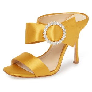 Yellow Satin Cut Out Buckle Rhinestone Mule Sandals