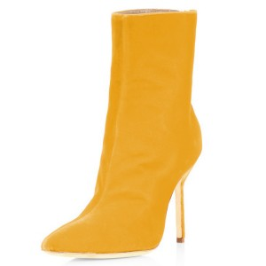 FSJ Yellow Velvet Boots Pointy Toe Stiletto Heel Ankle Booties