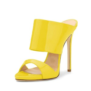 Yellow Stiletto Heels Mule Heels