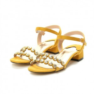 Yellow Studded Sandals Block Heel Sandals