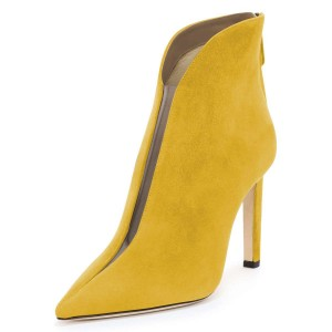 Yellow Suede Boots Cut Out Stiletto Heel Ankle Boots