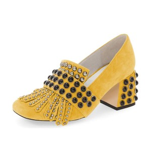 Yellow Suede Fringe Studs Block Heels Pumps