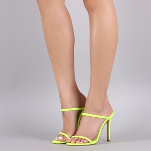 Yellow Two Strap Mule Heels Sandals