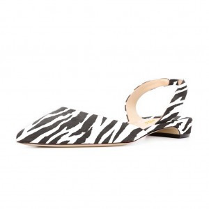 Zebra Slingback Shoes Pointy Toe Comfortable Flats