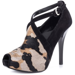 Women's Black Crossed-over Straps Leopard Peep Toe Stiletto Heel Sandals