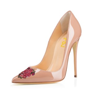 Women's Nude Pointed Toe Flower Office Heels Pumps