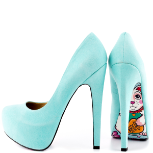 Cyan Floral Print Almond Toe Heels Stiletto Pumps Platform Shoes For Women