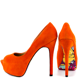 Women's Orange Floral Print Stiletto Heels Peep Toe Pumps With Platform