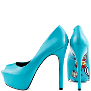 Light Blue Stiletto Heels Peep Toe Pumps Platform Shoes