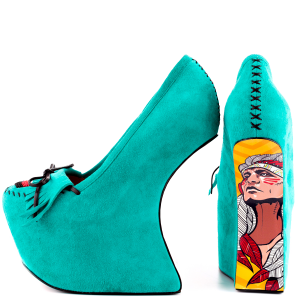 Teal Shoes Suede Platform Wedge Heel Floral Fringe Pumps