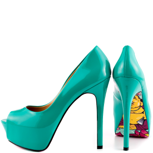 Teal Shoes Peep Toe Heels Patent Leather Stiletto Heel Pumps