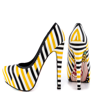 Women's Yellow And Black Floral Print Platform Heels Almond Toe Stiletto Heels