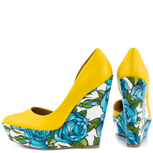 Yellow Floral Heels Closed Toe Wedges Platform D'orsay Pumps