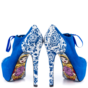 Royal Blue Peep Toe Lace up Heels Matryoshka Doll Print Pumps