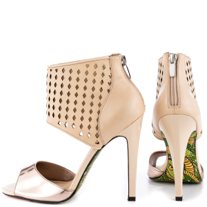 Nude And Champagne Ankle Strap Sandals Stiletto Heels Pumps