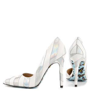 Silver and White D'orsay Pumps Butterfly Sole Holographic Shoes