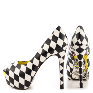 Black And White Floral Print Stiletto Heels Peep Toe Platform Shoes
