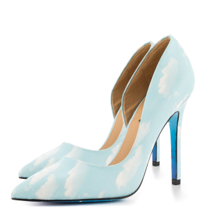 Women's Lightblue Clouds Print Office Heels Pointy Toe Stiletto Heels